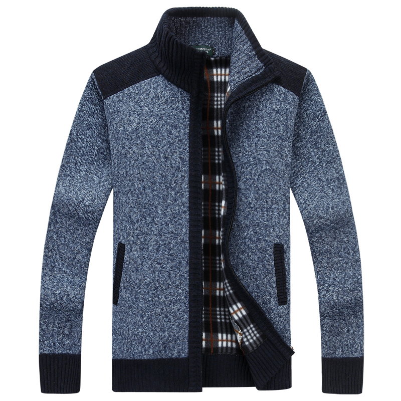 QIMAGE 2017 New Arrival Sweater Men Autumn Winter Warm Velet Knitwear Patchwork Stand Zipper Collar Cardigan Men Free Shipping