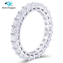 DovEggs Solid 14K White Gold 2.5mm F Color Hearts and Arrows Moissanite Eternity Ring for Women Classic Matching Wedding Band