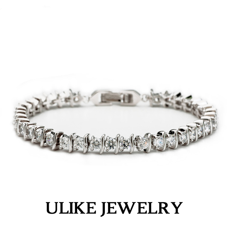 18K White Gold Plated AAA+ Round Cubic Zirconia Diamond Tennis Brand Bracelet Women Christmas Gift - Ulike Fashion Store1 store