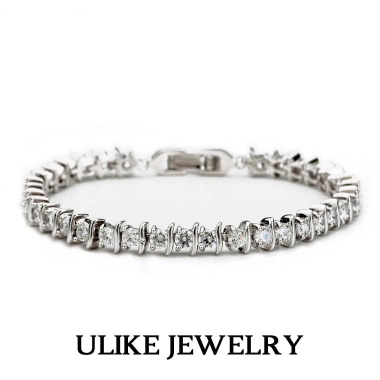 18K White Gold Plated AAA+ Round Cubic Zirconia Diamond Tennis Brand Bracelet Women Christmas Gift  -  Ulike Fashion Store1 store