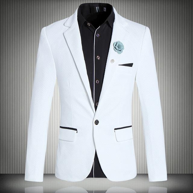 Casual de negocios estilista simple blanco de gama alta boutique slimbrazer brazer 2016 Primavera y Otoño estilo Coreano de moda los hombres M-5XL