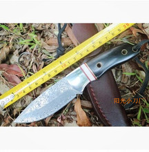 Damascus Steel Hunting Knife Small Black Straight Multi-function Knife Outdoor Tools Survival Collect Knife