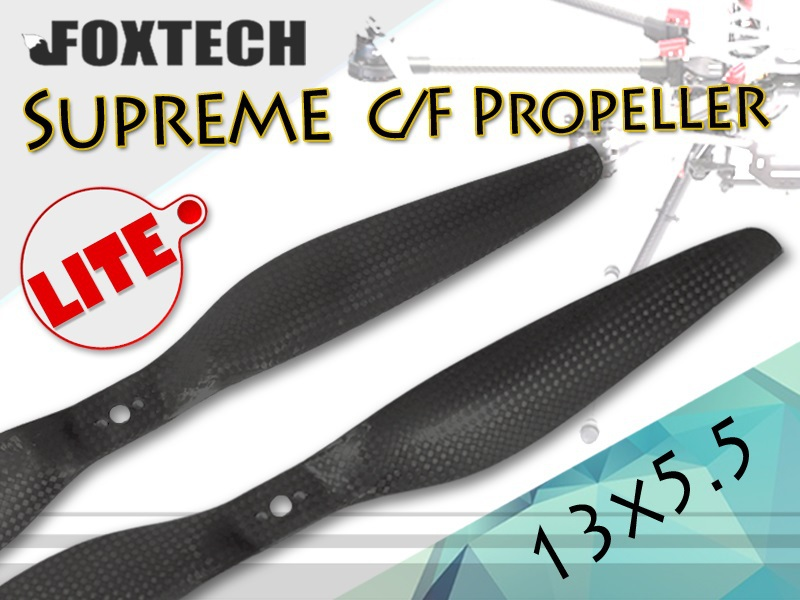 2 Pairs 1355 Foxtech Supreme Lite C/F Carbonfiber CW/CCW Propeller (13x5.5)  for QuadCoptor Multicopter FPV f17778 4pcs lot 2 pairs fpv nylon fiber cw ccw propeller for yuneec typhoon q500