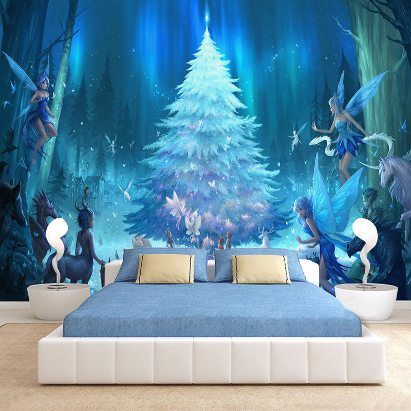 Custom 3D Stereo Cartoon Fluorescent Tree Photo Mural Wallpaper Kid's Room Personality Abstract Anime Wall Paper Papel De Parede custom photo wall paper modern living room 3d abstract geometric non woven large wall painting mural wallpaper papel de parede