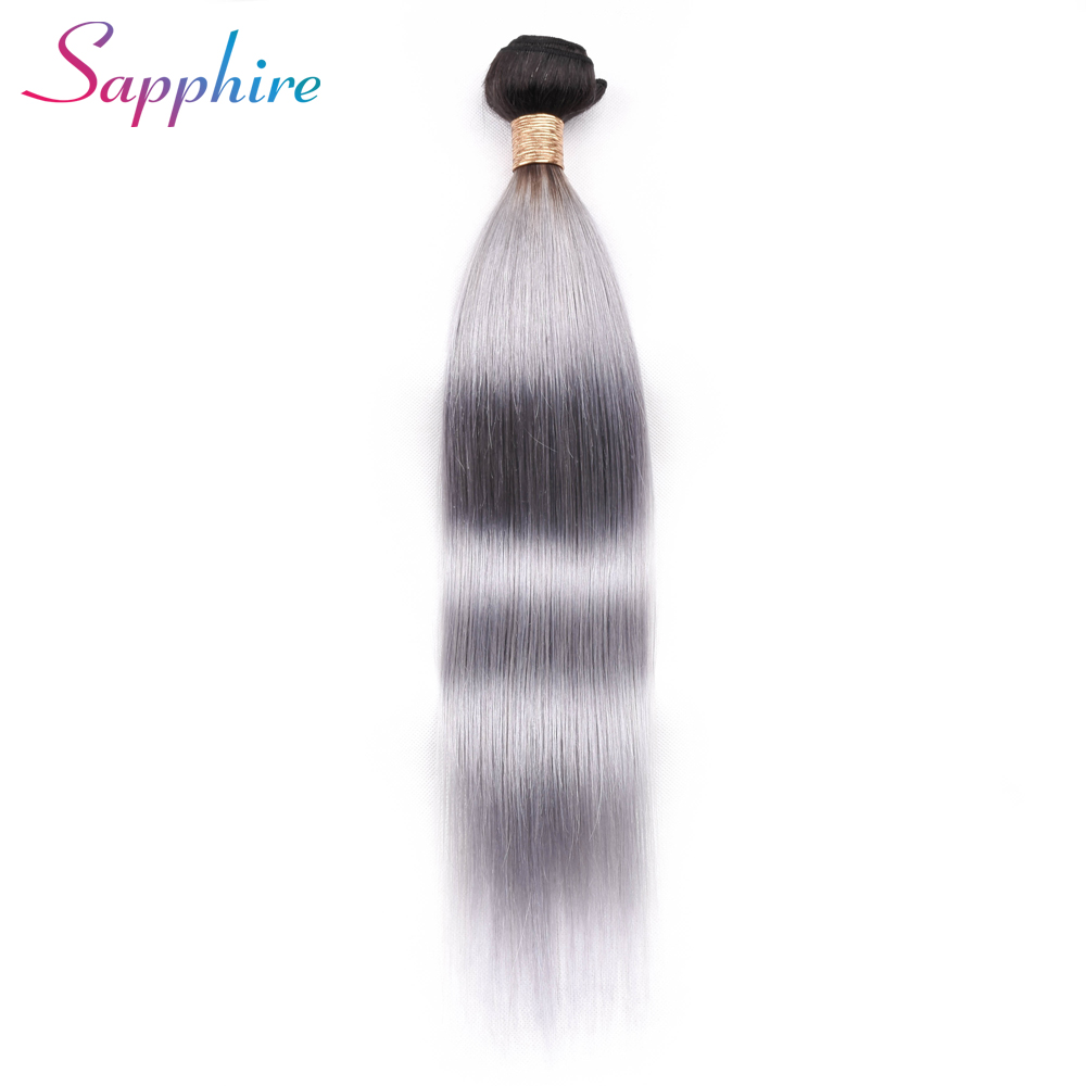 Sapphire Ombre Brazilian Hair Straight Human Hair Weave Bundles Deal 1B/grey Piece Weft Two Tone Remy Hair Extensions