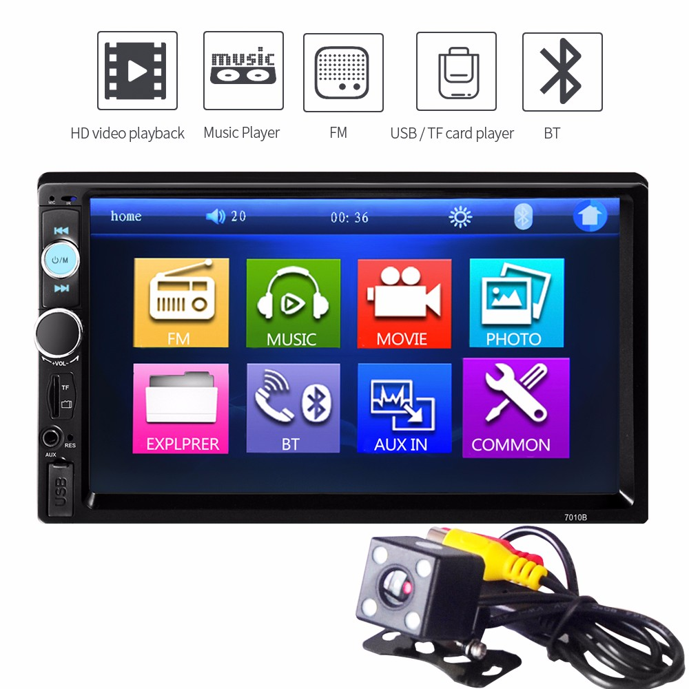 7010B 440 x 240 resolution Car Audio Stereo Touch Screen 7 inch Car Audio Stereo MP5 Player For AUX TF USB FM Radio with Camera 7021g car mp5 player for bmw gps navigation 7 touch screen audio video player with rearview camera support tf usb aux fm radio
