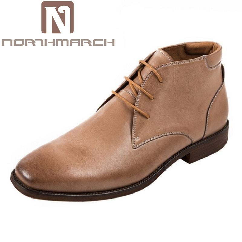 Zapatos Botas coffee Británico De Hombre Alta Lujo Marca Desierto Superior Genuino Martin Marrón Moda Cuero Northmarch Clásico xwCOaqxU