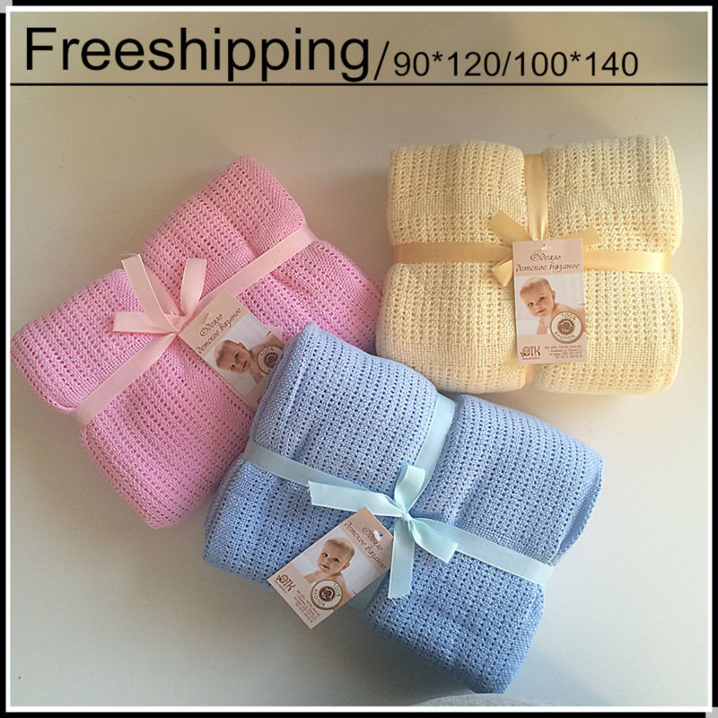 Hot Sale 100% Cotton Baby Knitted Breathable Props Blanket Kids Crib Casual Sleeping Hole Wrap Blankets For Spring Summer Autumn