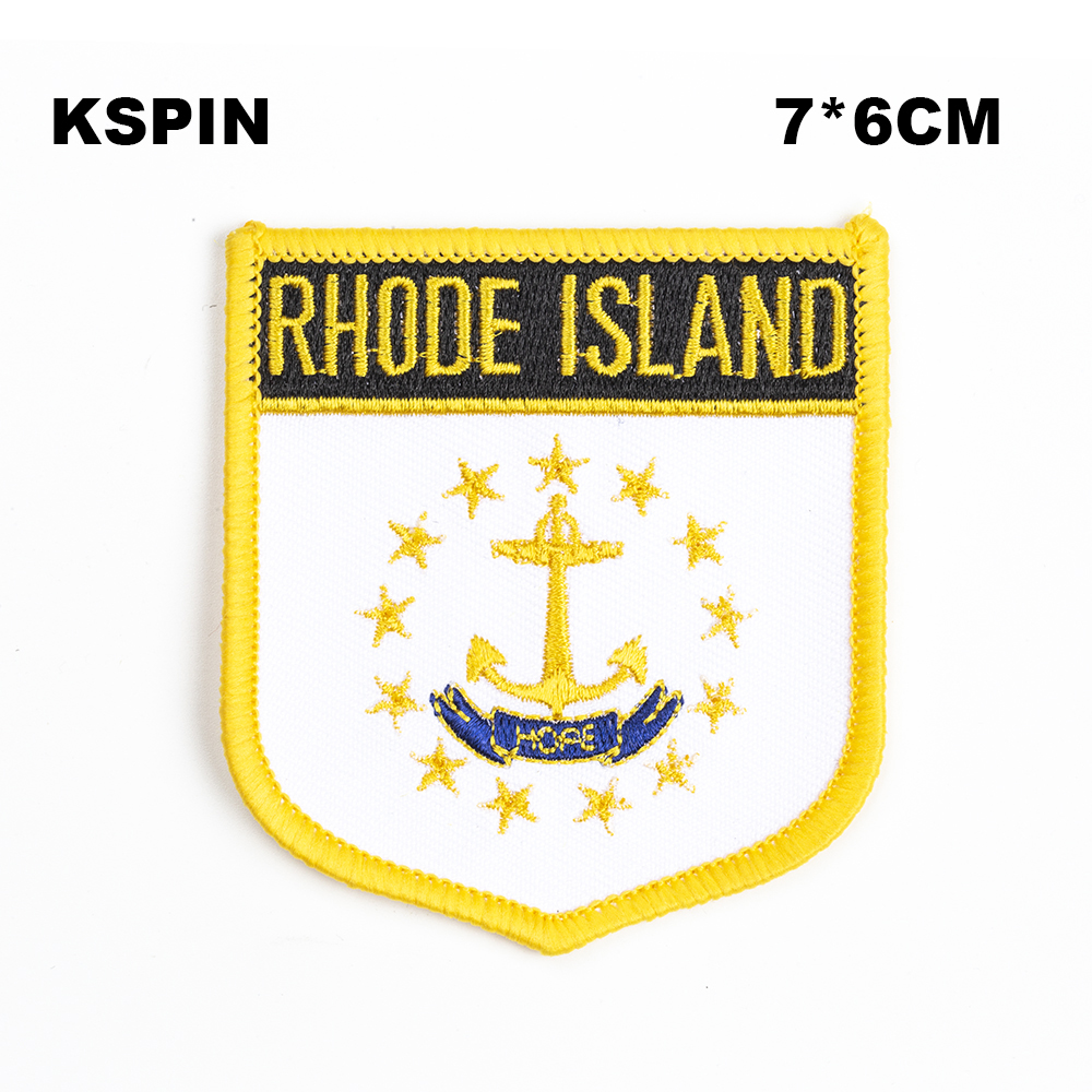 Open-Minded U.s.a Rhode Island State Iron On Badge Embroidered Clothes Badge For Clothing Stickers Garment 1pcs 6*7cm Upi-0206-s Badges