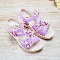 2018 новые летние детские сандалии для девочек искусственная кожа легкий цветок жемчуг модная детская обувь босоножки для девочек-принцесс размер 26-37