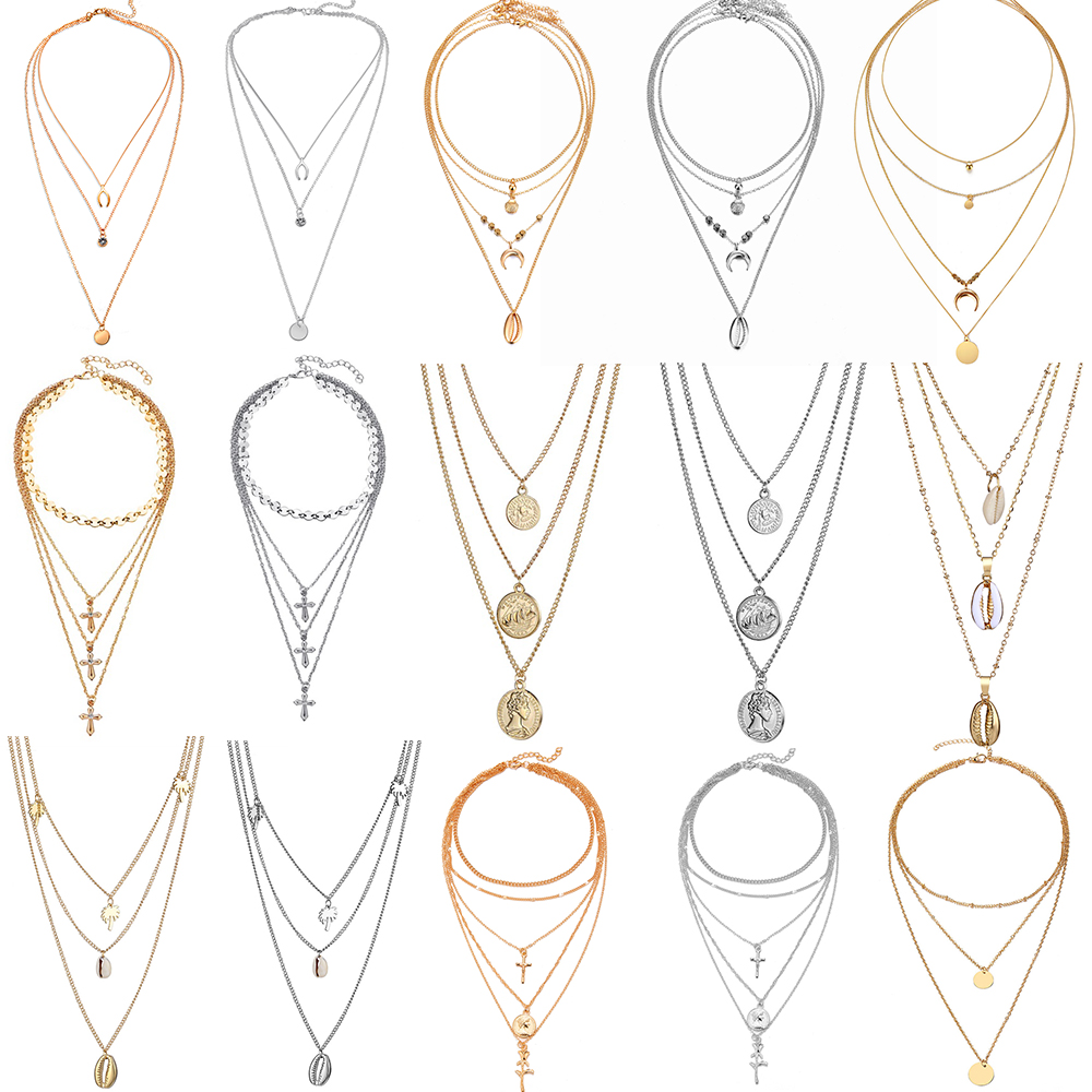Women's Vintage Coin Shell Star Pendant Necklace 2019 Bohemian Multilayer Gold Silver Layered Moon Choker Necklace Party Gift