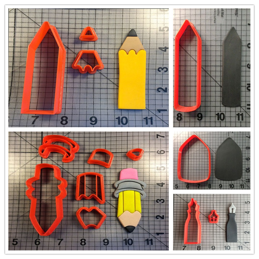 Pencil Series Cookie Cutter Set Cake Decorating Tools Custom Made 3D Printed Fondant Cupcake Tools Kitchen Accessories