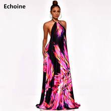 Plus Size Floral Maxi Dress Sexy Halt Backless Elegant Party Striped Femme Robe Sleeveless Long Club Vestidos