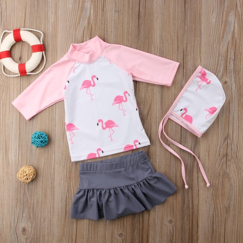 Kid Baby Girl Bikini Swimwear Bathing Suit Sunsuit Toddler Clothing Sun Product Baby Girl Long Sleeve O-Neck Set Pink