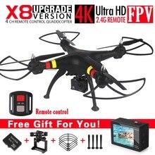 NUEVA SYMA X8G X8W X8 FPV RC Drone Con 4 K de Untra HD Cámara 6-Axis RTF RC Helicóptero Quadcopter fit H9 WIFI Cámara VS MJX X8HG X101