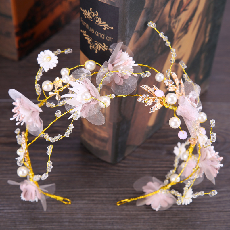 New Bohemian Forest Queen Pink Wreath Bridal Headwear Sweet Cute Flower Girl Bridesmaid Headdress Golden Leaf Large Pearl Wreath