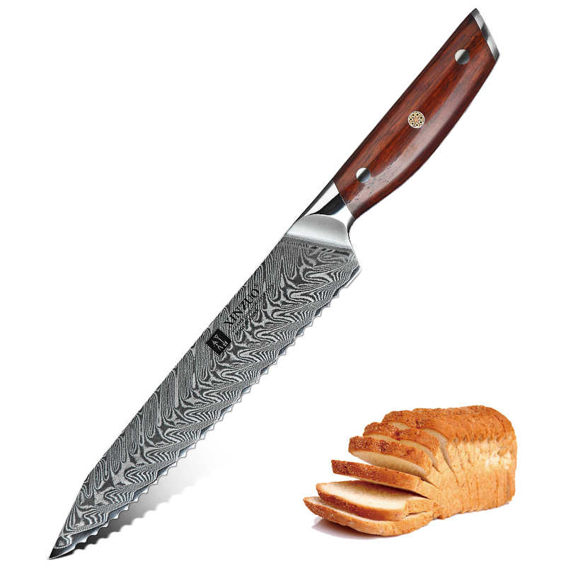 XINZUO 8.5'' Serrated Kitchen Knife Damascus Stainless Steel Knives For Cutting Bread Cheese Cake Comfortable Rosewood Handle