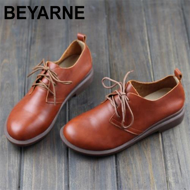BEYARNE Women Flat Shoes Genuine Leather Lace up Ladies Shoes Women's Moccasins Female Spring/Autumn Footwear women shoes spring autumn genuine leather flat shoes round toe lace up flats ladies moccasins