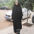 Mulheres Manga Batwing e jilbab Abaya Preto Muçulmano Robe Islâmico oração Roupas Plus Size Khimar Hijab Lenço de 122801