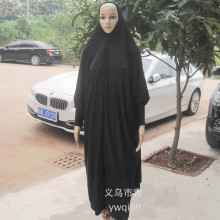 Women Muslim Black Batwing Sleeve jilbab and Abaya Robe Islamic prayer Clothes Plus size Khimar Hijab Scarf 63001