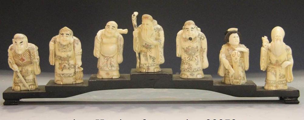 China Cattle Bone Handmade Carved Japanese Religion Fu Seven Lucky God Statue