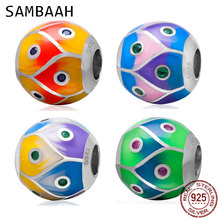 Sambaah High Class Colorful Enamel Round Ball Charms 925 Sterling Silver Spring Beads for Original Pandora DIY Bracelet CWS0002