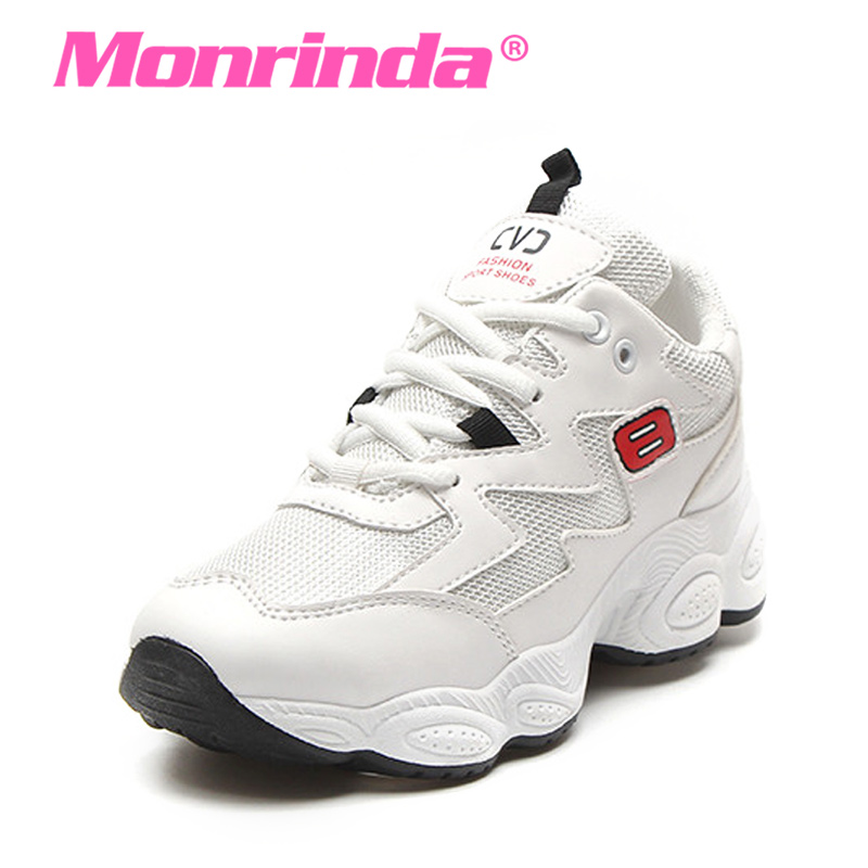 цена на Monrinda Summer Women Sneakers Breathable Running Shoes White Sport Woman Shoes Comfort Rubber Athletic Jogging Walking Shoes