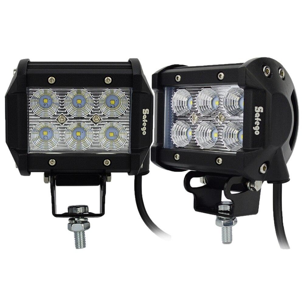Safego 2 pcs 4 pouces Offroad LED Light Bar 18 w Led Travail Lampe Spot Lumière crue 12 v 24 v Offroad voiture Camion Remorque 4X4 Led Travail Lumière