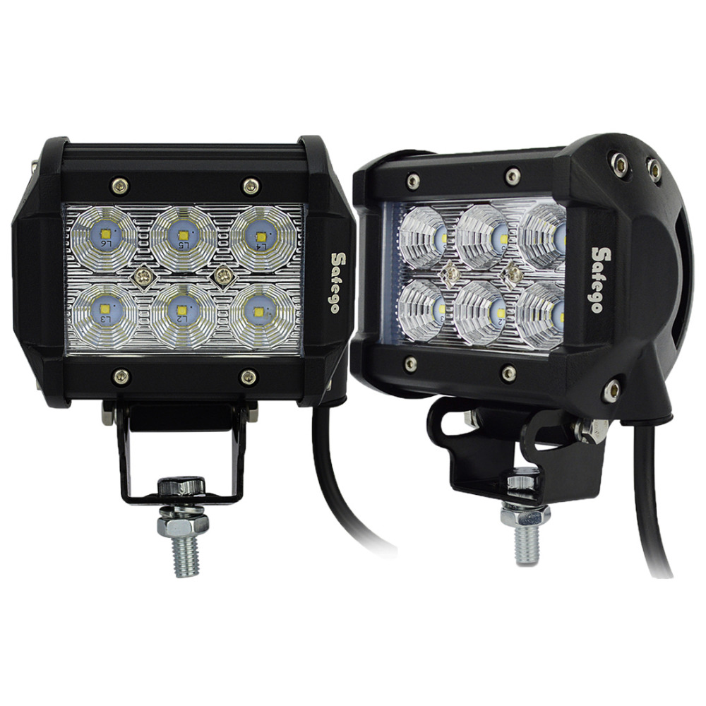 Safego 2pcs 4inch Offroad LED Light Bar 18w Led Work Lamp Spot Flood Light 12v 24v Offroad car Truck Trailer 4X4 Led Work Light