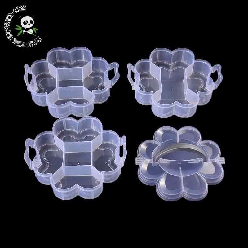 1 مجموعة واضح 3 طبقة مجموع 14 شعرية زهرة على شكل خرز من البلاستيك تخزين الحاويات مع غطاء للمجوهرات التعبئة والتغليف ، 165x145x125 مللي متر