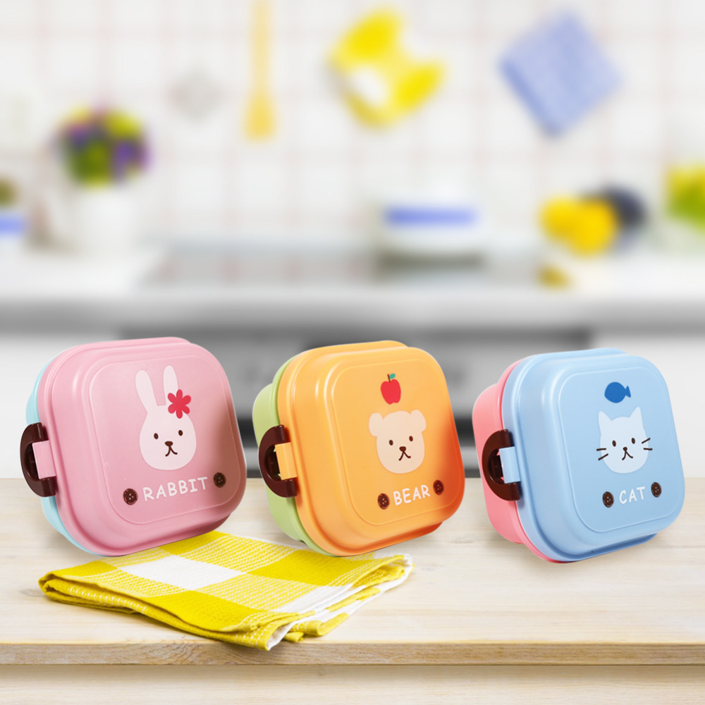 kitchen cute lunch bento box cartoon pattern dual layer food container storage children in. Black Bedroom Furniture Sets. Home Design Ideas