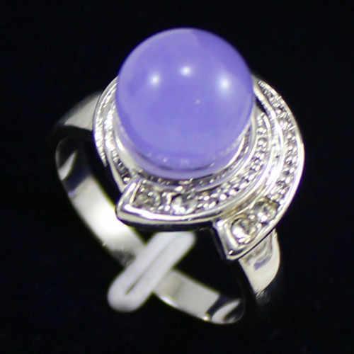 Noble! 10 มม. ลูกปัดสีม่วง jades เครื่องประดับแหวนผู้หญิง