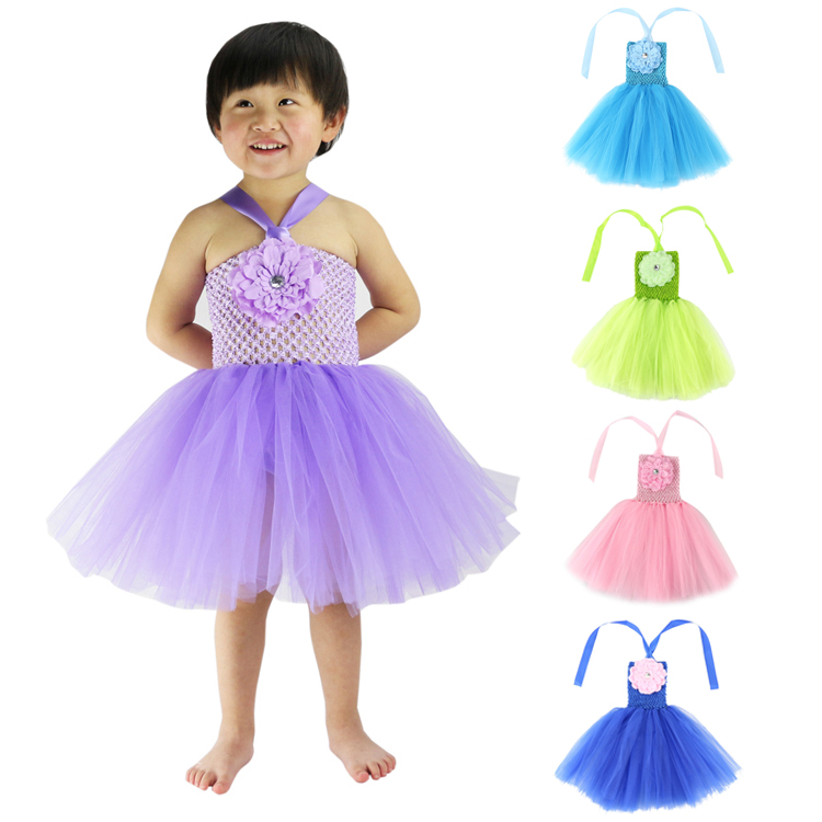 Ropa para niñas bebés Wennikids Flor Crochet Top Girl Tutu Dress For Birthday / photo / wedding / party / festival Christmas, halloween