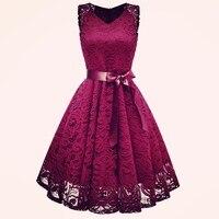 Винтажное кружевное платье для подиума летнее платье vestido с бантом и поясом, v-образный вырез, вечерние платья трапециевидной формы, элегант...