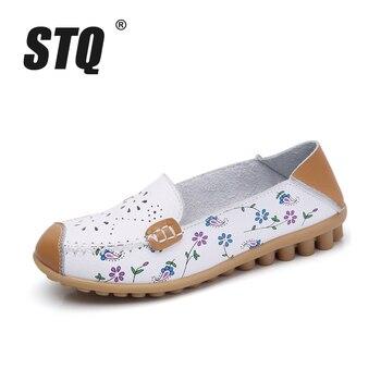 STQ 2019 summer women flat shoes genuine leather ballet flats shoes cutout flats ladies slip on loafers nurse boat shoes 3569