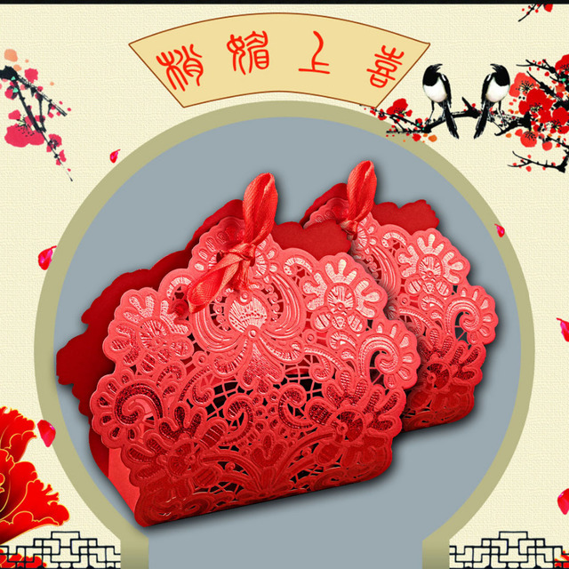 100 pcs Red Laser Cut Wedding Favor Boxes Wedding Candy Box Casamento Wedding Favors And Gifts