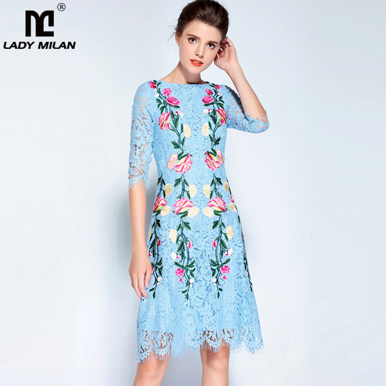 New Arrival 2018 Womens O Neck 3/4 Sleeves Embroidery Lace High Street Runway Dresses