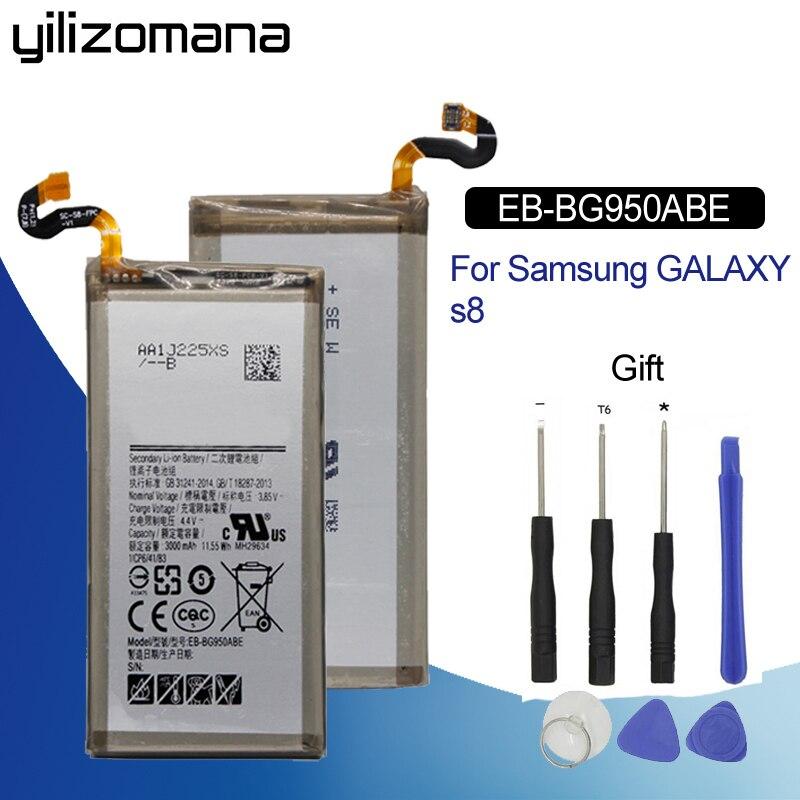 EB-BG950ABE YILIZOMANA Bateria De Reposição Originais Para Samsung GALAXY S8 SM-G9508 G9508 G9500 G950U SM-G G Capacidade 3000 mah