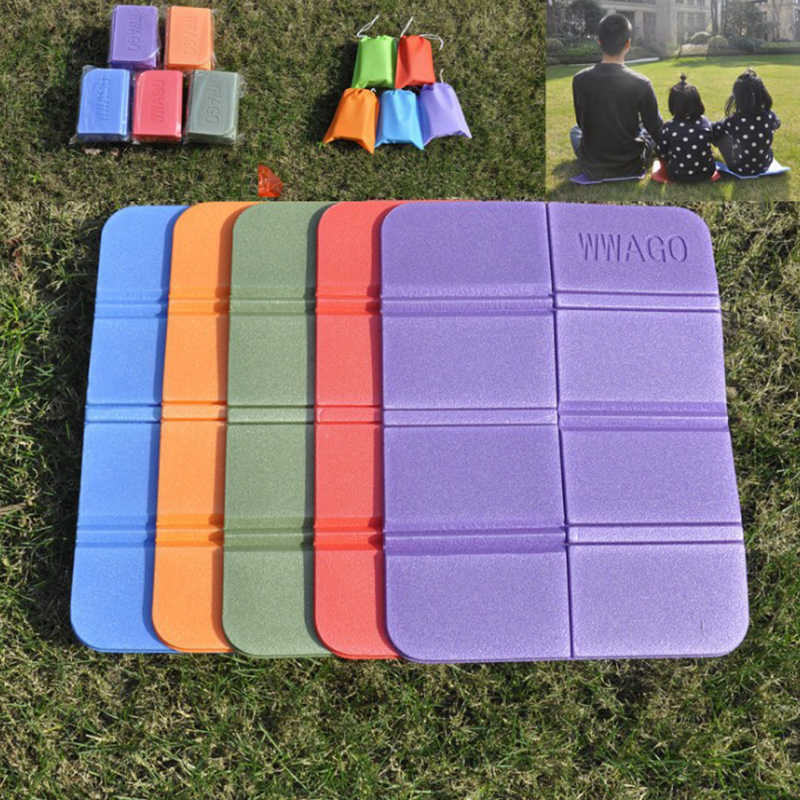 4 Colors Outdoor Folding XPE Waterproof Camping Mat Picnic Damp Proof Sitting Mat Beach Mat Pad Portable Small Cushion