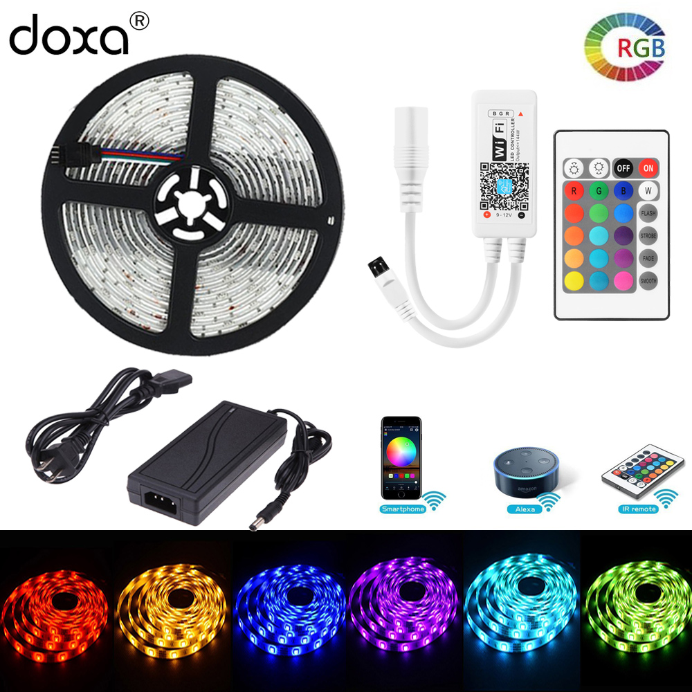 BLYN WIFI LED Strip 5050 RGBW RGB Diode Tape Light Waterproof IP65 5M Rope +LED WIFI Controller RGB+DC12V 5A Power Supply Alexa wifi led controller rgb led light strip 2 4g dc12v intelligent wifi controller compatible amazon alexa google home and ifttt