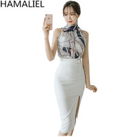 HAMALIEL Business Summer Women 2 Piese Set Dress 2017 Chiffon Print Flower Bow Sleeveless Tops White