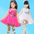 Crianças Conjuntos de Roupas Para Meninas de Verão Sem Mangas Meninas Vestido & Leggings 2 Pcs 4 6 8 10 12 14 Anos da Cópia Floral Crianças roupas
