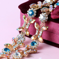 Colorful Crystal Rhinestone Cup Chain Gold Base With Claw Dress Decoration Trim Applique Sew On Garment