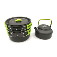3 pcs Outdoor Camping Cookware Teapot Pot Frying Pan Set Portable Foldable Hiking Picnic Walking Utensils Tourist Tableware