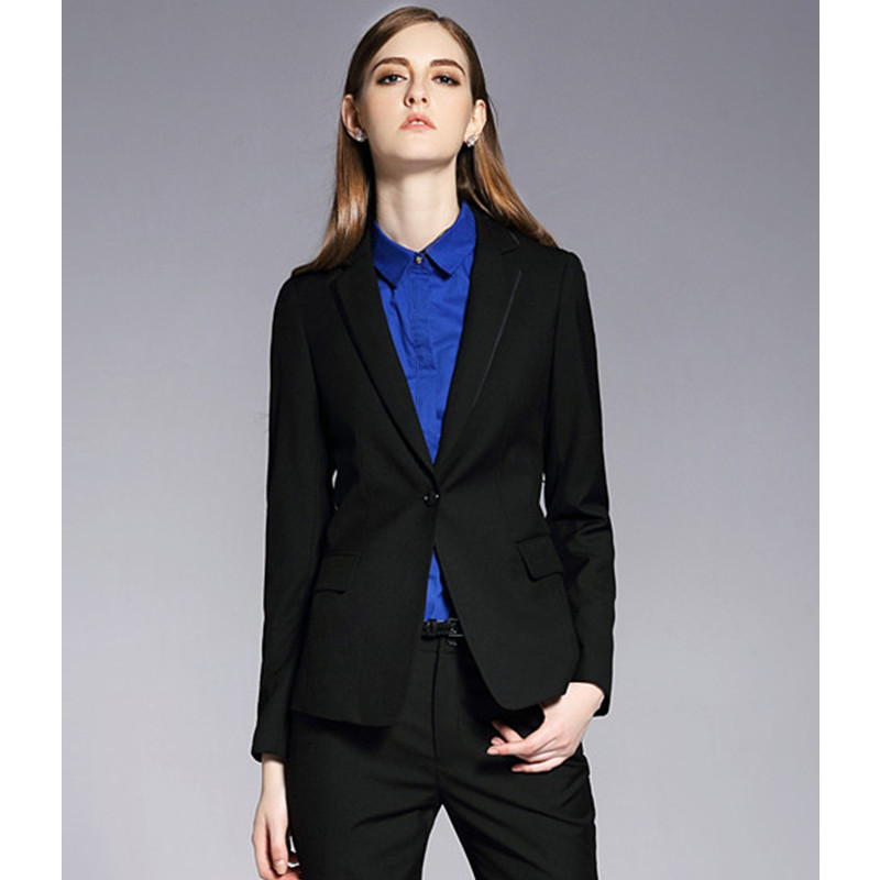 Formal Office Uniform Black Custom Designs Women Pant Suits Elegant Pantsuits Lady OL Bu ...