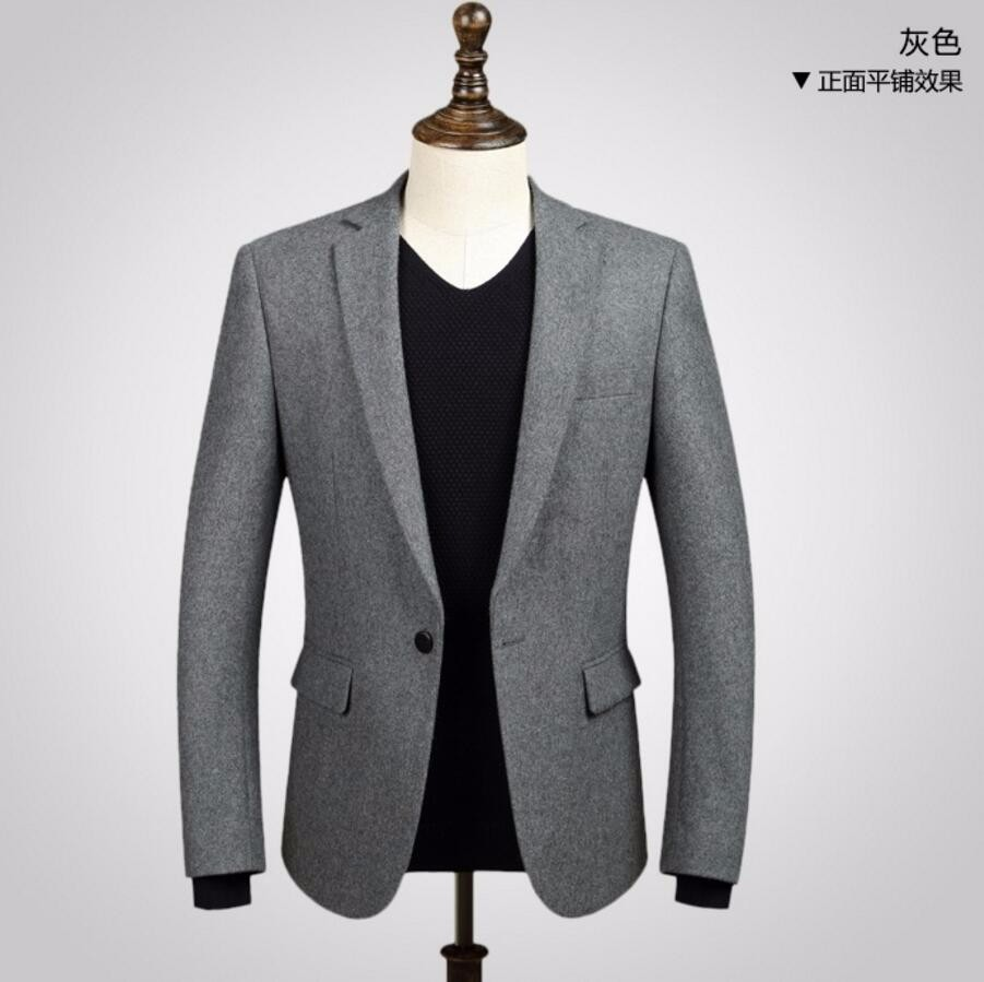 1.1 men jacket hot sell fashion handsome style Wool blend fabric jacket one button lapel long-sleeve to keep warm blazer