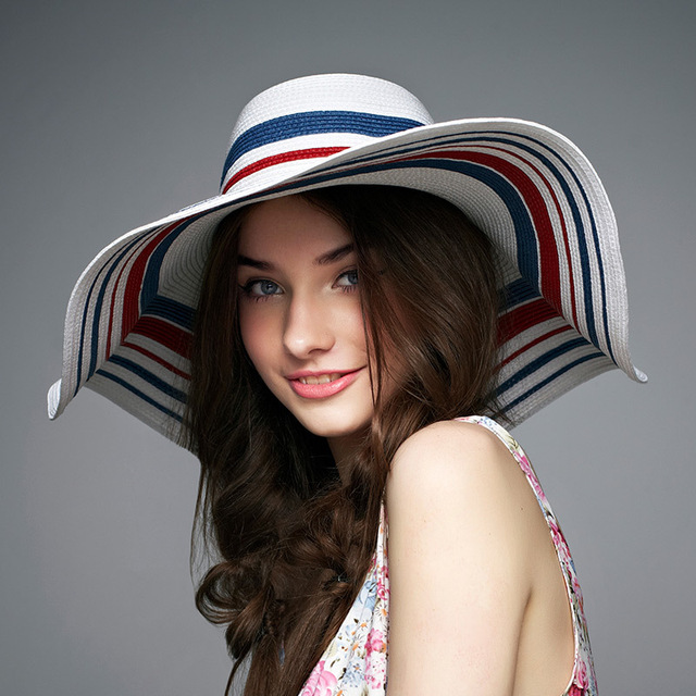 2016 New Lady Sun Hat Summer Straw Hat Women Folded Wide Brim Sun Cap Elegant Travelling Hat New Headwear  B-1940