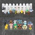 Anime Pikachu Bulbasaur Tepig Torchic Keychain Pendant Cellphone Strap Pikachu Movie Plush Figures 12pcs/lot