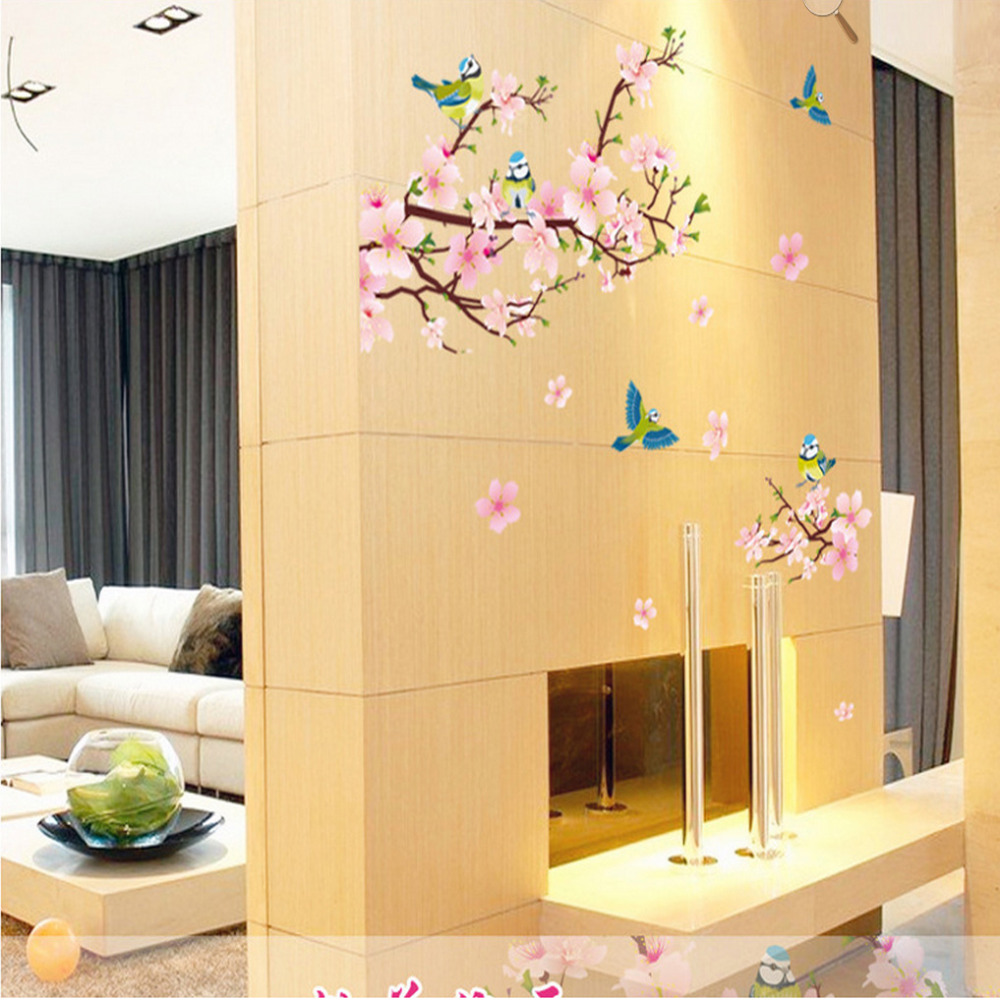 Removable Peach Blossom Flowers Wall Stickers For Kids Rooms Art ...