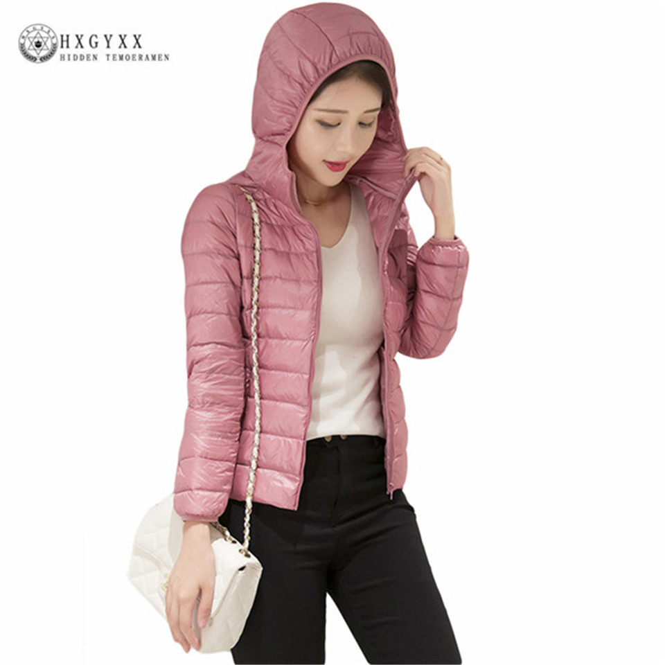 Camperas New 2018 90% White Duck Down Coat Winter Womens Hooded Solid Color Ultra Light Puffer Jacket Warm Cotton Parkas Ok388